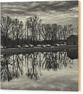 Cushwa Basin C And O Canal Black And White Wood Print