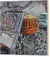 Custom Bike In Orange And Black Wood Print