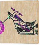 Custom Chopper Motorcycle Wood Print