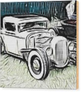 Custom Hot Rod Pickup Wood Print
