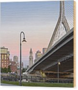Custom House And Zakim Bridge Wood Print