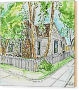 House Portrait Sample Wood Print