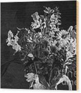 Cut Flowers In Monochrome Wood Print