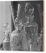Cut Glass Crystal Decanters In Black And White 2 Wood Print