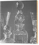 Cut Glass Decanters In Black And White Wood Print