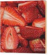 Cut Strawberries Wood Print