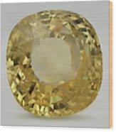 Cut Yellow Sapphire Gemstone Wood Print