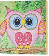 Cute As A Button Owl Wood Print