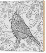 Cute Bird In Fantasy Flower Garden Wood Print