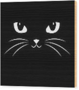 Cute Black Cat Wood Print
