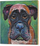 Cute Boxer Puppy Dog With Big Eyes Painting Wood Print