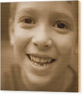 Cute Boy Smiling Wood Print