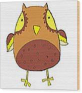Cute Brown Owl Wood Print