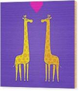 Cute Cartoon Giraffe Couple In Love Purple Edition Wood Print