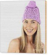 Cute Girl Wearing Pink Winter Hat Wood Print