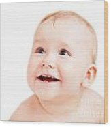 Cute Happy Baby Smiling On White Wood Print