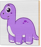 Cute Illustration Of A Brontosaurus Wood Print