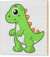 Cute Illustration Of Tyrannosaurus Rex Wood Print