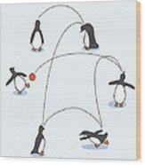 Cute Penguin Art Wood Print