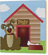Cute Puppy Dog With Dog House Illustration Wood Print