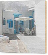 Cute Santorini Island Hause  Wood Print