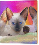 Cute Siamese Kittens Cats  Wood Print