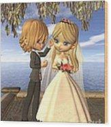 Cute Toon Wedding Couple On A Seaside Balcony Wood Print