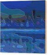 Cutout Art Blue Landscape Wood Print