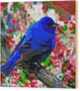Cutout Layer Art Animal Portrait Bird Blue Wood Print
