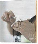 Cutting Hair Wood Print