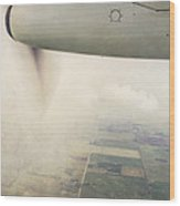 Cutting Through The Fog With Turboprop Over Alberta Wood Print
