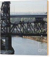Cuyahoga River Cleveland Flats Wood Print