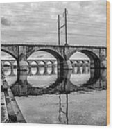 Cv - Susquehanna River Bridge Harrisburg  Pennsylvania In Black  Wood Print