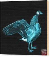 Cyan Canada Goose Pop Art - 7585 - Bb  Wood Print