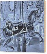 Cyan Horse Wood Print