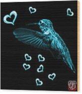 Cyan Hummingbird - 2055 F M Wood Print