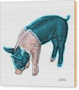 Cyan Piglet - 0878 Fs Wood Print