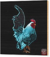 Cyan Rooster Pop Art - 4602 - Bb - James Ahn Wood Print