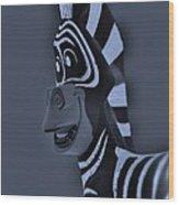 Bluegray Zebra Wood Print