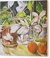 Cyclamen With Tangerines And Kiwi Wood Print