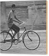 Cycling Boy Wood Print
