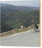 Cycling In Greek Mountains Wood Print