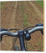 Cycling In The Country Wood Print