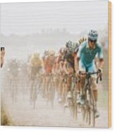 Cycling In The Dust Wood Print