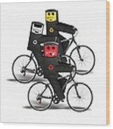 Cycling Recycle Bins Wood Print