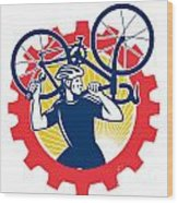 Cyclist Bicycle Mechanic Carrying Bike Sprocket Retro Wood Print by Aloysius Patrimonio
