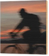 Cyclist In Motion Wood Print