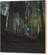 Cyclist In Mountain Forest Wood Print