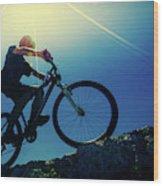 Cyclist On Bike Wood Print
