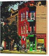 Cyclists Crossing Rue Clark Corner Wilensky Spring Street Scene Montreal Art Carole Spandau Wood Print